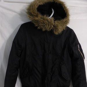 BUFFALO black zip up jacket with fur trim hoodie